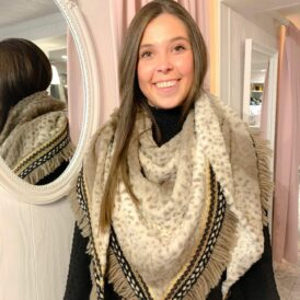 Scarf Triangle light beige leopard