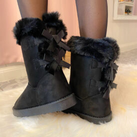Bow boots black