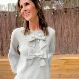 Sweater grey bow