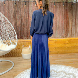 Skirt long blue suede