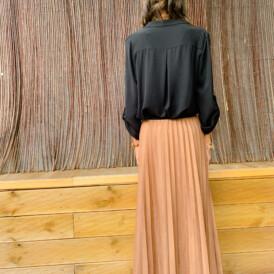 Skirt long camel suede