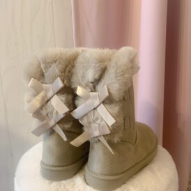 Bow boots beige