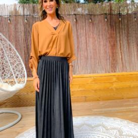 Skirt long black suede
