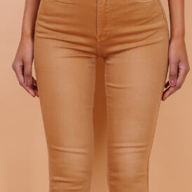 High waist trousers camel
