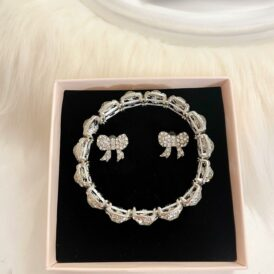 Jewelry set bow silver