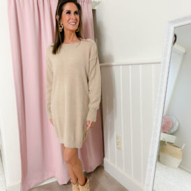 Sweaterdress bow back light brown