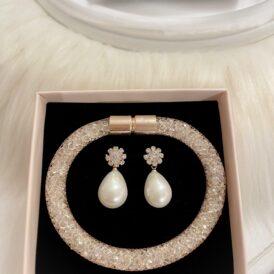 Jewelry set drop rose gold
