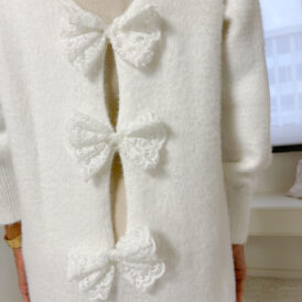 Sweaterdress bow back ivory