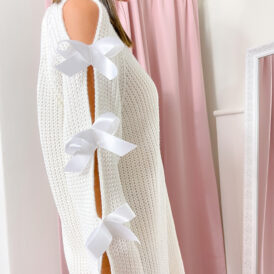 Sweaterdress bow ivory