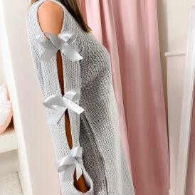 Sweaterdress bow lightgrey