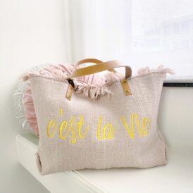 Beachbag C'est La Vie pink