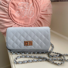 Handbag leather light blue