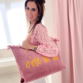 Beachbag C'est La Vie dark pink
