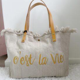 Beachbag C'est La Vie beige
