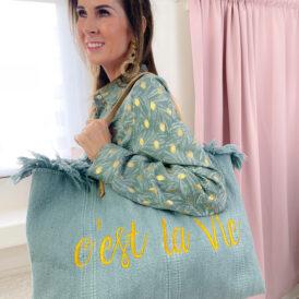 Beachbag C'est La Vie green