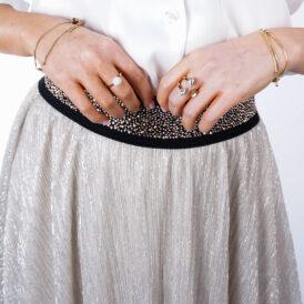 Maxiskirt Shiny White Gold
