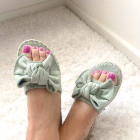 Sandaaltjes Suede bow mintgroen