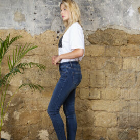 Trousers high waist Toxik Jeans dark blue