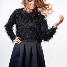 YENTLK BY YENTL Frill Knit Sweater black