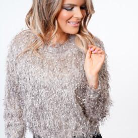 YENTLK BY YENTL Frill Knit Sweater beige