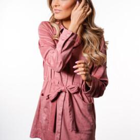 YENTLK BY YENTL Suede Dress pink